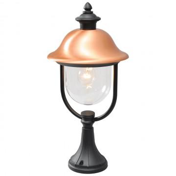Садово-парковый светильник De Markt Дубай 805040301, IP44, 1xE27x95W, черный, медь, прозрачный, металл, металл с пластиком