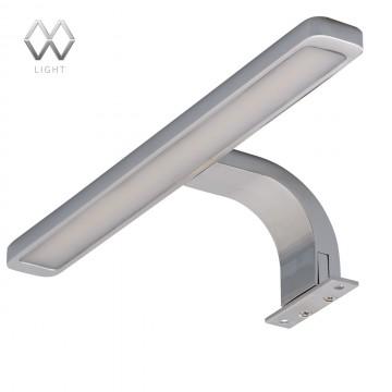 Светодиодный светильник на шкаф или зеркало De Markt Аква 509024001, IP44, LED 10W 4000K (дневной), хром, матовый, металл, пластик