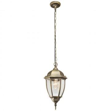Подвесной светильник De Markt Фабур 804010401, IP44, 1xE27x95W, черный с золотой патиной, прозрачный, металл, стекло