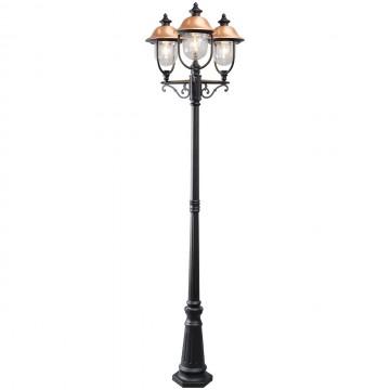 Уличный фонарь De Markt Дубай 805040702, IP44, 3xE27x95W, черный, медь, прозрачный, металл, пластик
