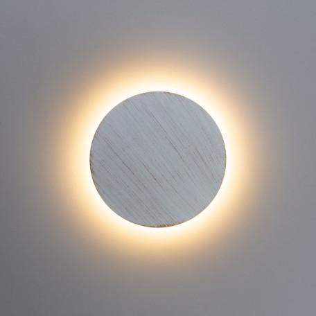Настенный светодиодный светильник Arte Lamp Instyle Nimbo A1506AP-1WG, IP54, LED 6W, 3000K (теплый), белый с золотой патиной, металл