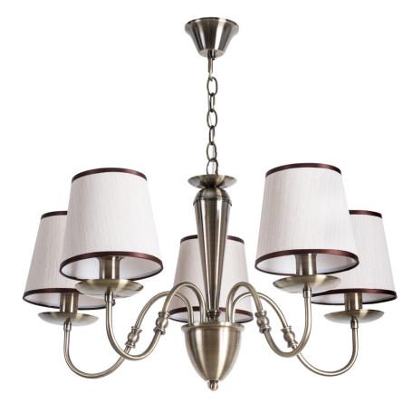 Подвесная люстра Arte Lamp City Fiona A3227LM-5AB, 5xE14x40W, бронза, бежевый, металл, текстиль