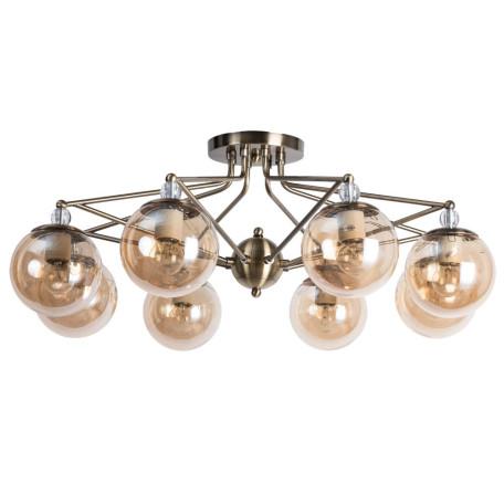 Потолочная люстра Arte Lamp City Enigma A3133PL-8AB, 8xE27x40W, бронза, коньячный, металл, стекло