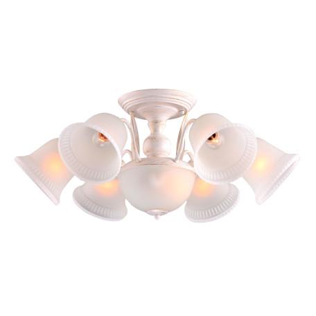 Потолочная люстра Arte Lamp City Campanula A6306PL-8WG, 8xE27x60W, белый с золотой патиной, белый, металл, стекло