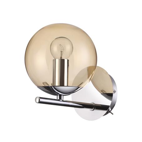 Бра Lumion Sierra 4454/1WA, 1xE14x60W, хром, янтарь, металл, стекло