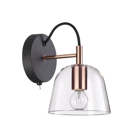 Бра Lumion Moderni Joseph 4455/1W, 1xE14x60W, черный с медью, медь с черным, прозрачный, металл, стекло