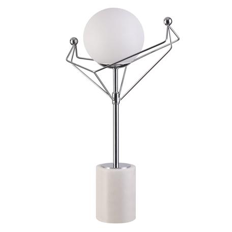 Настольная лампа Lumion Kennedy 4467/1T, 1xE14x40W, матовый хром, белый, металл, стекло