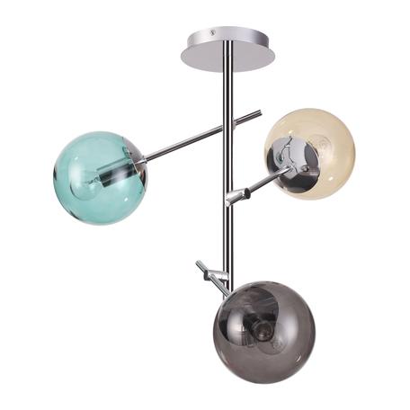 Потолочная люстра Lumion Moderni Sierra 4454/3C, 3xE14x60W, хром, бирюзовый, дымчатый, янтарь, металл, стекло