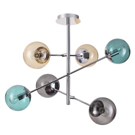 Потолочная люстра Lumion Moderni Sierra 4454/6C, 6xE14x60W, хром, бирюзовый, дымчатый, янтарь, металл, стекло