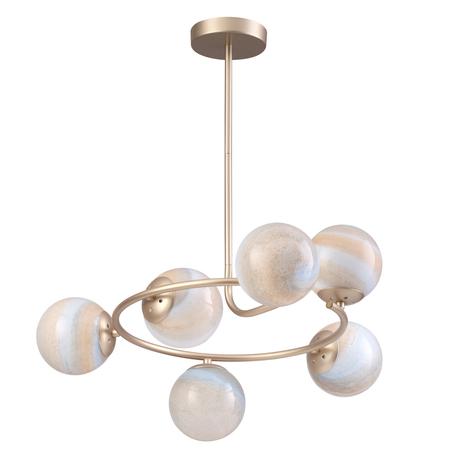 Потолочная люстра Lumion Moderni Misty 4466/6C, 6xE14x40W, матовое золото, янтарь, металл, стекло