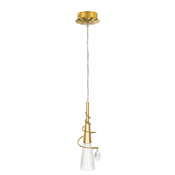 Подвесной светильник Lightstar Aereo 711011, 1xG9x25W, матовое золото, прозрачный, металл, стекло, хрусталь