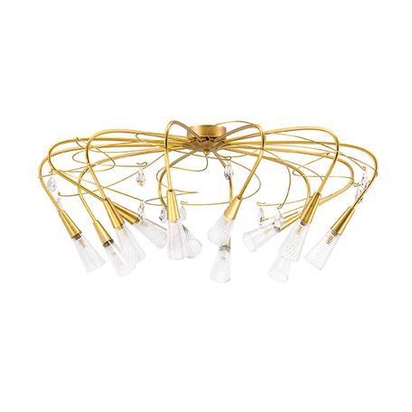 Потолочная люстра Lightstar Aereo 711121, 12xG9x25W, матовое золото, прозрачный, металл, стекло, хрусталь