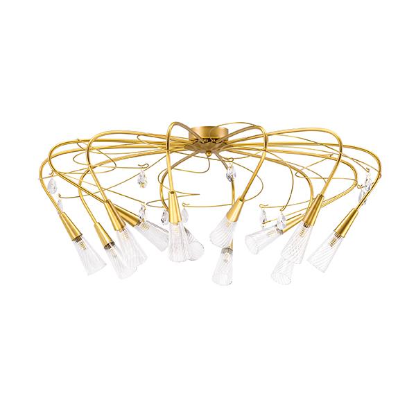 Потолочная люстра Lightstar Aereo 711121, 12xG9x25W, матовое золото, прозрачный, металл, стекло, хрусталь - фото 1