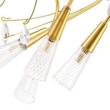 Потолочная люстра Lightstar Aereo 711121, 12xG9x25W, матовое золото, прозрачный, металл, стекло, хрусталь - миниатюра 2