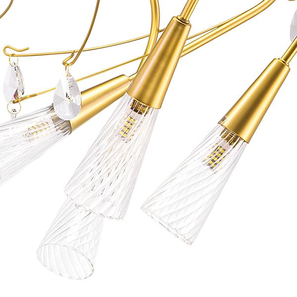 Потолочная люстра Lightstar Aereo 711121, 12xG9x25W, матовое золото, прозрачный, металл, стекло, хрусталь - фото 2