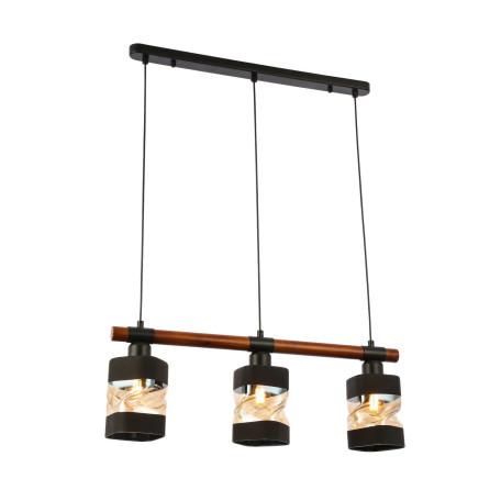 Подвесной светильник Evoluce Abiritto SLE114403-03, 3xE27x60W, черный, коричневый, янтарь, дерево, стекло