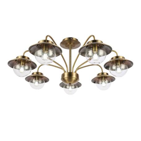 Потолочная люстра Evoluce Garonni SLE110102-07, 7xE14x40W, бронза, прозрачный, металл, металл со стеклом