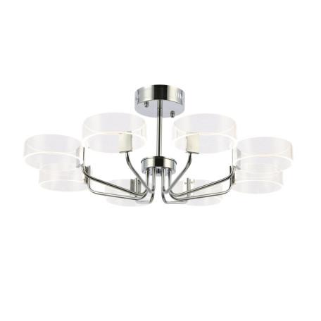 Потолочная светодиодная люстра Evoluce Solla SLE283102-08, LED 64W 3000K 5760lm, хром, белый, металл, пластик