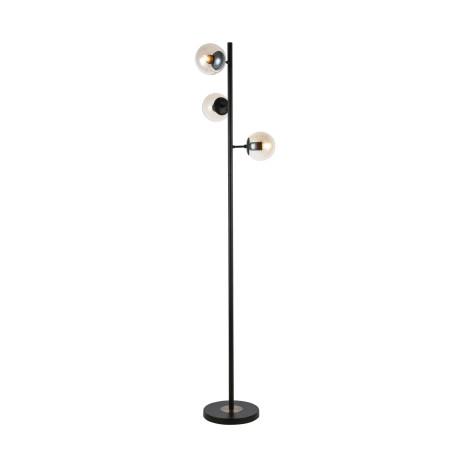Торшер Evoluce Lacotta SLE154905-03, 3xE27x60W, черный, янтарь, металл, стекло