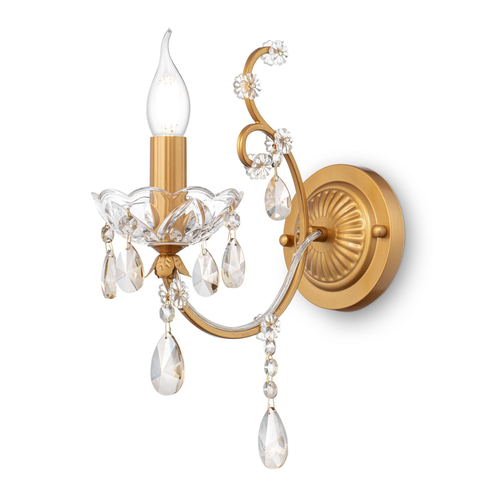 Бра Maytoni Royal Classic Sevilla DIA004-01-G, 1xE14x60W, золото с прозрачным, коньячный, металл со стеклом, хрусталь - фото 1