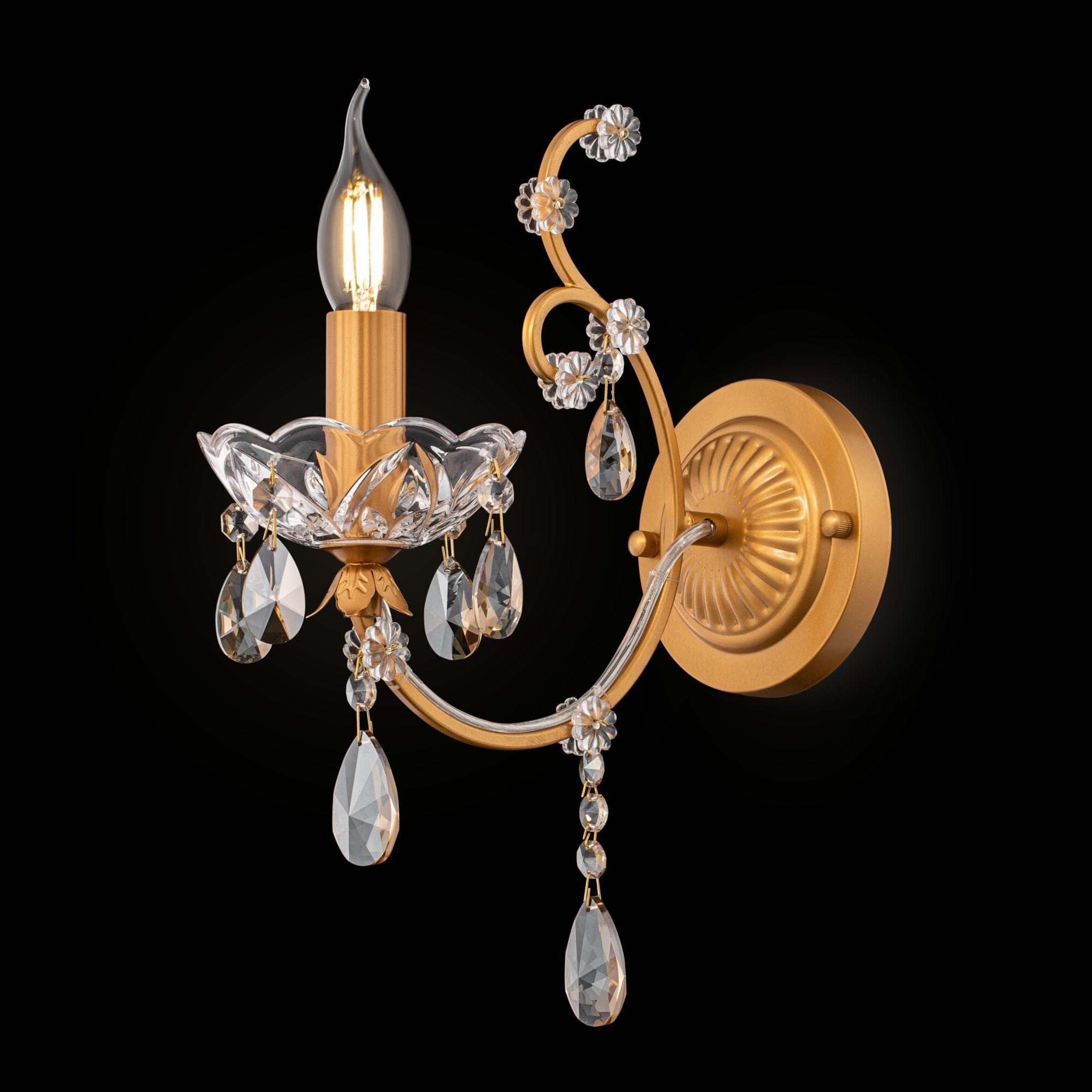 Бра Maytoni Royal Classic Sevilla DIA004-01-G, 1xE14x60W, золото с прозрачным, коньячный, металл со стеклом, хрусталь - фото 2