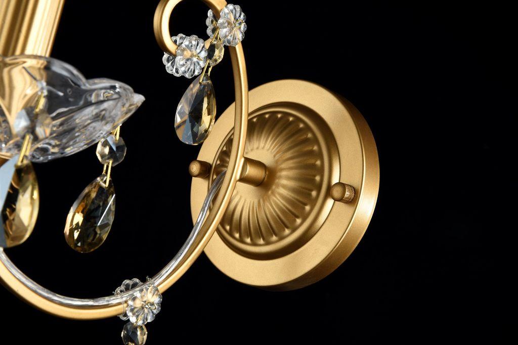 Бра Maytoni Royal Classic Sevilla DIA004-01-G, 1xE14x60W, золото с прозрачным, коньячный, металл со стеклом, хрусталь - фото 3