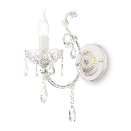 Бра Maytoni Sevilla DIA004-01-WG, 1xE14x60W, белый с золотой патиной, прозрачный, металл, хрусталь