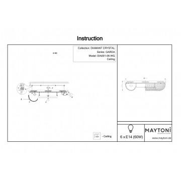 Схема с размерами Maytoni DIA001-06-WG