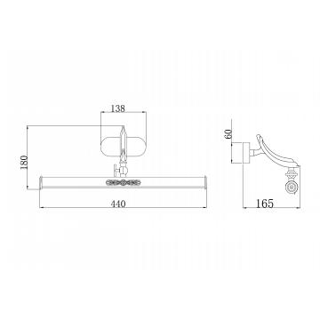 Схема с размерами Maytoni PIC113-02-G