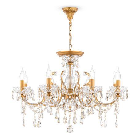 Потолочно-подвесная люстра Maytoni Royal Classic Sevilla DIA004-08-G, 8xE14x60W, золото с прозрачным, коньячный, металл со стеклом, хрусталь
