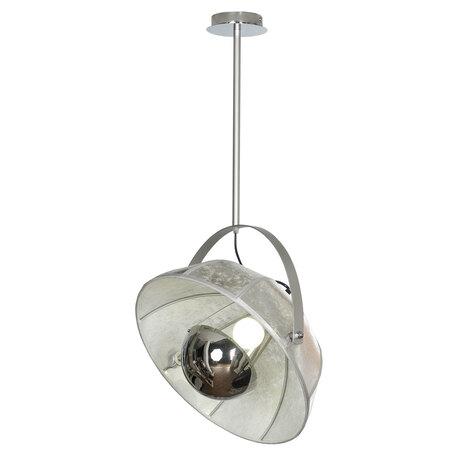 Светильник Lussole LGO Klamath LSP-0557-C80, IP21, 1xE27x40W, хром, серый, металл, текстиль с металлом