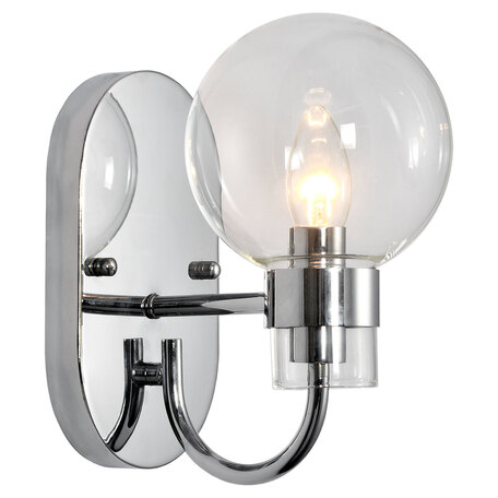Светильник Lussole Loft Mohave LSP-8398, IP21, 1xE14x40W, хром, прозрачный, металл, стекло