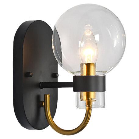 Светильник Lussole Loft Mohave LSP-8399, IP21, 1xE14x40W, черный с бронзой, прозрачный, металл, стекло