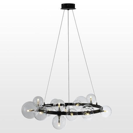 Светильник Lussole Topgrade Bubbles LSP-8395, IP21, 15xG4x1,5W, черный, прозрачный, металл, стекло