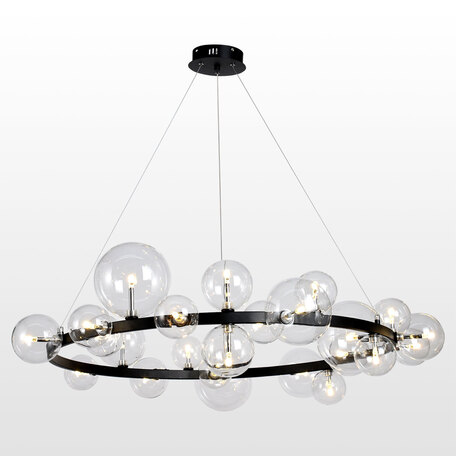 Светильник Lussole Topgrade Bubbles LSP-8396, IP21, 24xG4x1,5W, черный, прозрачный, металл, стекло