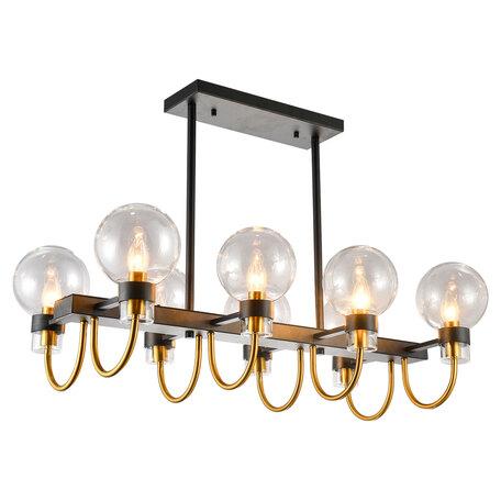 Светильник Lussole Topgrade Mohave LSP-8397, IP21, 8xE14x40W, черный с бронзой, прозрачный, металл, стекло