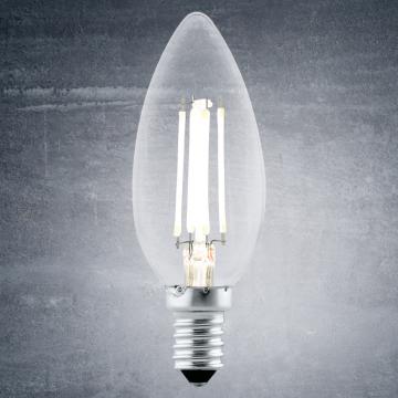 Филаментная светодиодная лампа Eglo 11496 свеча E14 4W, 2700K (теплый), гарантия 5 лет