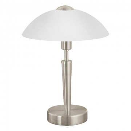 Настольная лампа Eglo Solo 1 85104, 1xE14x60W, никель, белый, металл, стекло