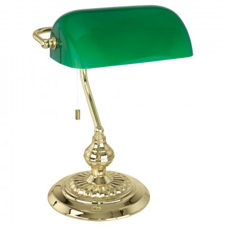 Настольная лампа Eglo Banker 90967, 1xE27x60W, золото, зеленый, металл, стекло
