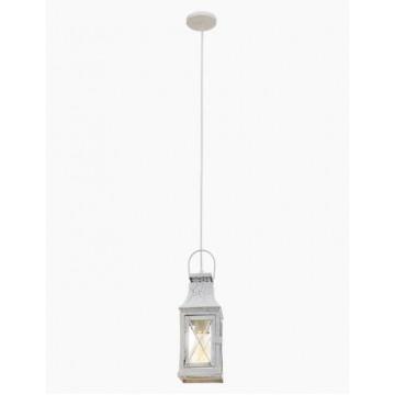 Подвесной светильник Eglo Lisburn 49223, 1xE27x60W, белый, прозрачный, металл, стекло
