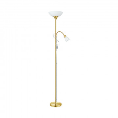 Торшер Eglo Up 2 82843, 1xE27x60W +  1xE14x25W, матовое золото, белый, металл, пластик