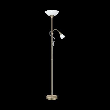 Торшер Eglo Up 2 82844, 1xE27x60W +  1xE14x25W, бронза, белый, металл, пластик
