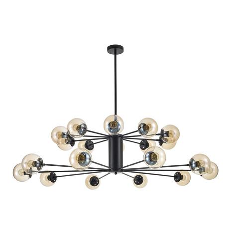 Потолочная люстра Arti Lampadari Filetto E 1.1.20 B, 20xE27x60W, черный, янтарь, металл, стекло