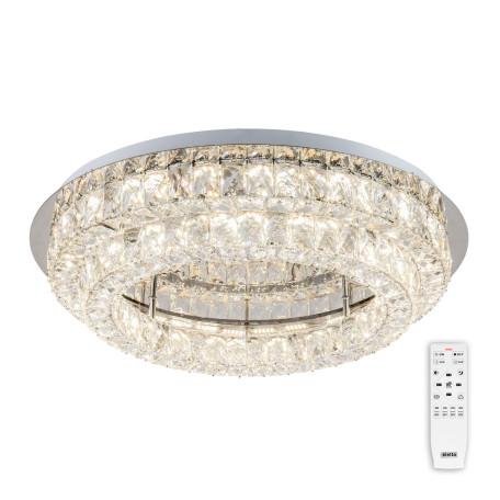 Потолочная светодиодная люстра с пультом ДУ Citilux Eletto Olimpia EL330C80.1, LED 80W 3000-5000K 5600lm, хром, прозрачный, металл, хрусталь