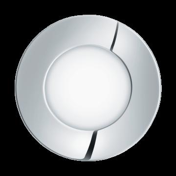 Встраиваемая светодиодная панель Eglo Fueva 1 96053, IP44, LED 2,7W 3000K 300lm, хром, металл с пластиком, пластик