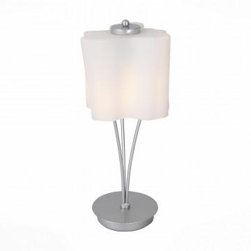 Настольная лампа ST Luce Onde SL116.504.01, 1xE27x60W, серебро, белый, металл, стекло