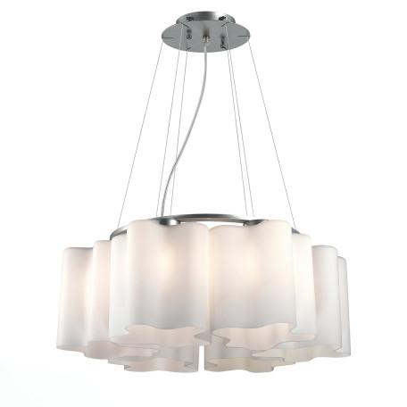 Подвесная люстра ST Luce Onde SL116.503.06, 6xE27x60W, серебро, белый, металл, стекло