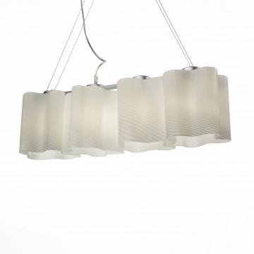 Подвесной светильник ST Luce Onde SL117.503.04, 4xE27x60W, серебро, белый, металл, стекло