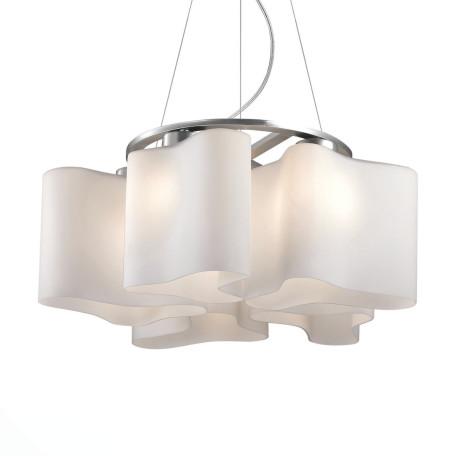 Подвесная люстра ST Luce Onde SL118.503.05, 5xE27x60W, серебро, белый, металл, стекло
