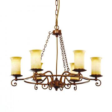 Подвесная люстра ST Luce Ancora SL122.303.06, 6xE14x60W, коричневый, янтарь, металл, стекло